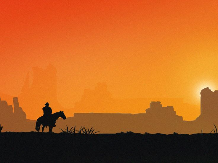 Cowboy silhouette riding horse during sunset hour. by Alem Omerovic