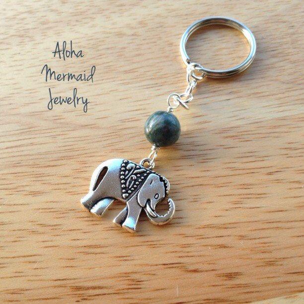 Silver Elephant Charm Keychain,Blue Green Yoga Accessory,Buddha Hindu Decor Elephant,Wire Wrap Beaded Gift,Indian Agate Stone Bead,Trending - pinned by pin4etsy.com