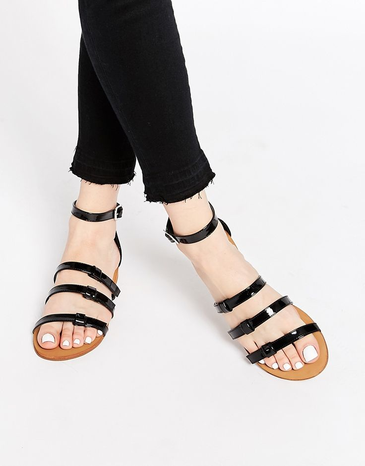 Image 1 ofLondon Rebel Ankle Strap Flat Sandals