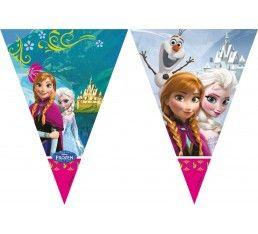 Leuke Frozen slinger voor een sprookjesachtig feestje. Op de vlaggenlijn staan Elsa, Anna en Olaf de sneeuwman.
