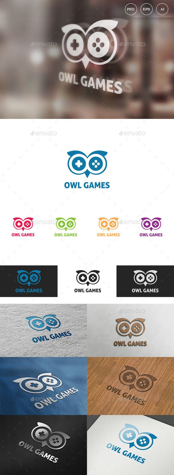 Owl Games  Logo Design Template Vector #logotype Download it here: http://graphicriver.net/item/owl-games-logo/9919726?s_rank=1761?ref=nexion
