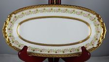 J. Pouyat Limoges Pequena Bandeja de relish-Pesado Ouro E Floral-Mint