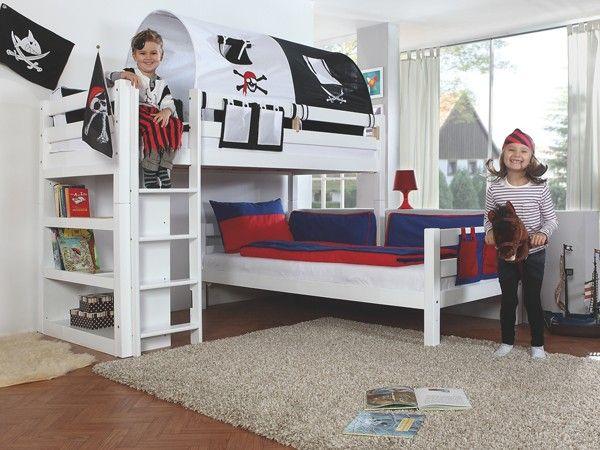Bennie Hoekstapelbed Wit + Bedtunnel Piraat   Baby & Tiener