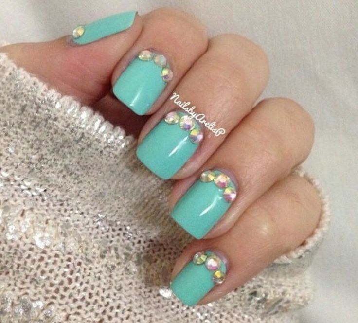 Mint Green Prom Nail: Mint Green Nails And Bling