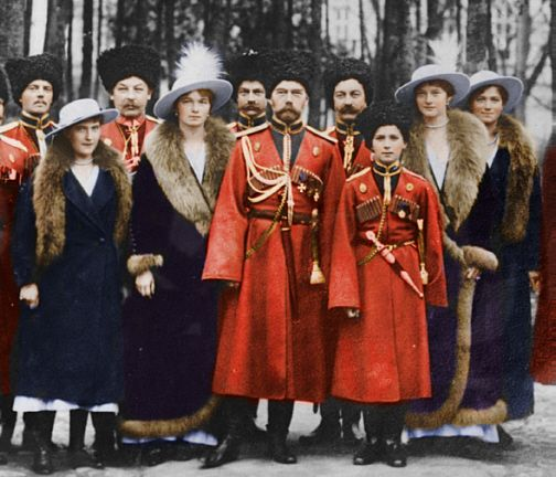 Tsar Nicholas II and Tsarevich Alexei in Convoy Cossack Uniforms.