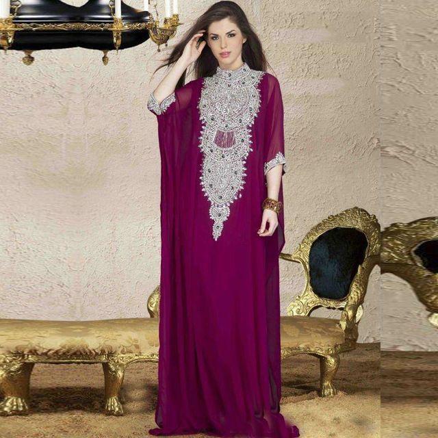 Caftan Longo Dubai Muçulmano Abayas Kaftan Abayas Árabe Turco Para venda vestido de Noite Robe Roxo para a Mulher Vestuário Islâmico