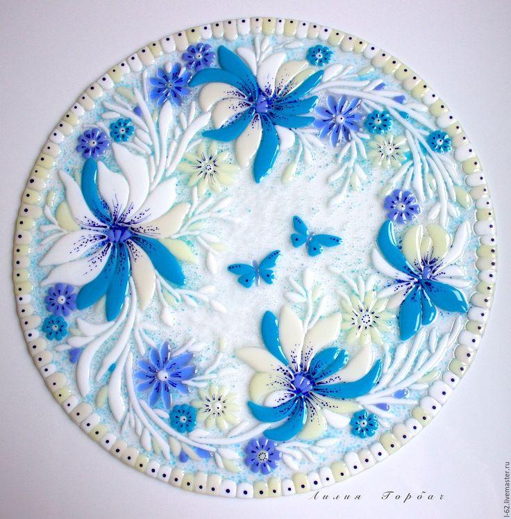 Купить стол для чайных церемоний Изморозь - голубой, белый, Фьюзинг, стекло, стол, столик