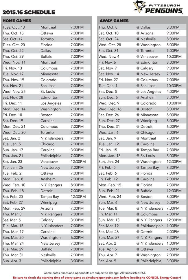 2015-2016 Pittsburgh Penguins schedule