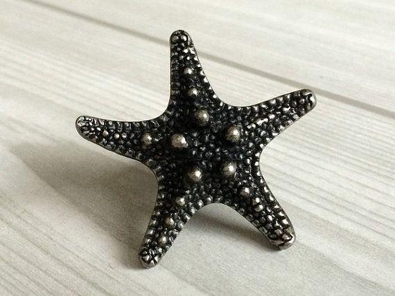 Zeester zee ster antiek zilver zwart dresser knop lade knoppen knoppen handvatten keukenkast deurklink nautische hardware