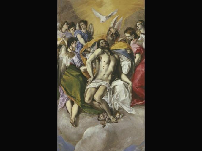 La Trinidad  Su particular e insólito estilo representa en esta obra su visión pictórica manierista en la que Dios sostiene el cuerpo de su hijo Jesucristo ya muerto y el espíritu santo aparece dibujado en forma de paloma. La Trinidad (1579) se encuentra expuesta en el Museo del Prado de Madrid.