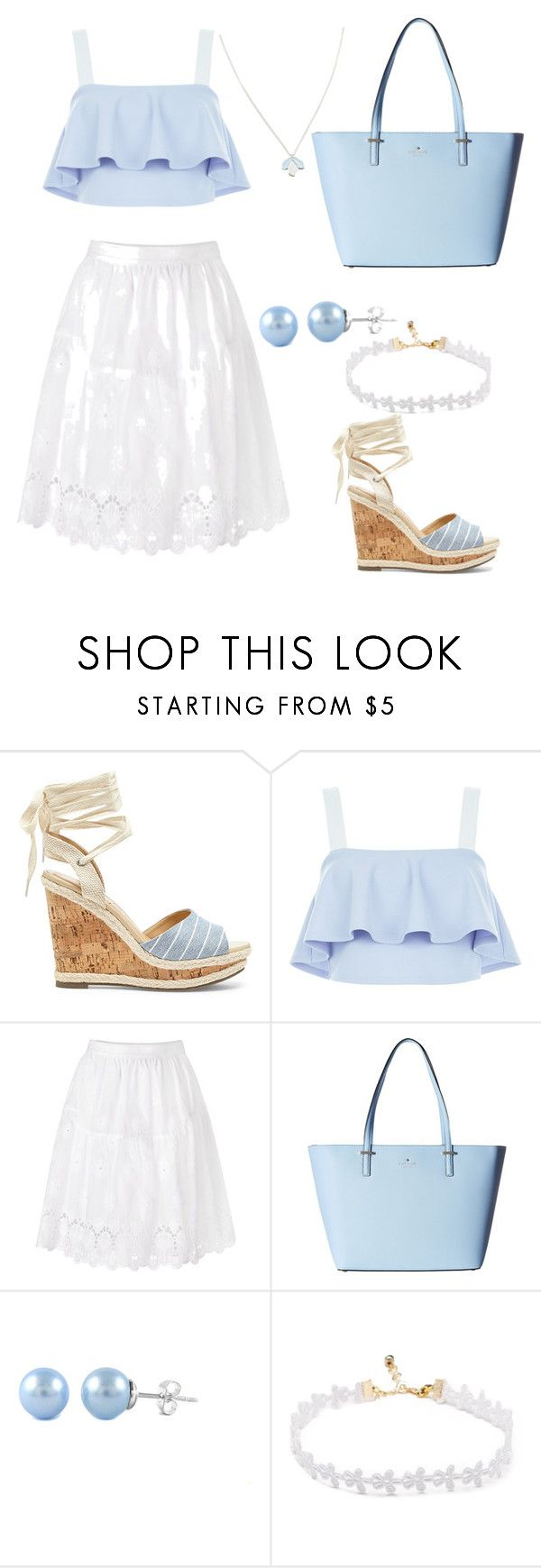 """""""Baby blue"""" by helenatving ❤ liked on Polyvore featuring Sole Society, New Look, Diane Von Furstenberg, Kate Spade and Wolf & Moon"""