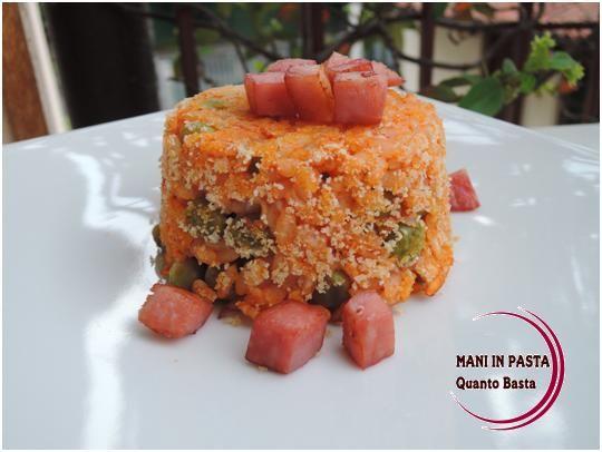 Timballino di riso con piselli e cuore cremoso http://maninpastaqb.blogspot.it/2014/07/timballino-di-riso-con-piselli-e-cuore.html