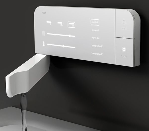 Fold-out Faucet by Min Kong The tap fits flush with the base of this discreet wall mount and comes with digital technology, plus a capacitive touch sensitive panel.