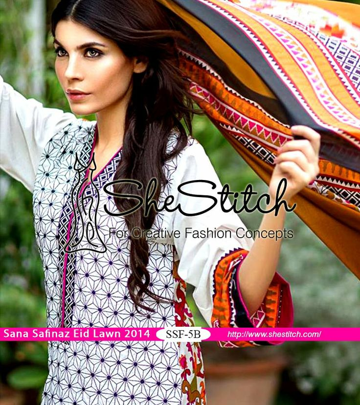 Price US: $70 - SSF-5B of Sana Safinaz Eid #Collection 2014 by #SanaSafinaz is white colored #dress. Front of #shirt has purple colored #embroidery on white color.
