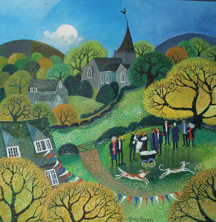 "Lisa Graa Jensen. ""The Christening"". Acrylic inks."