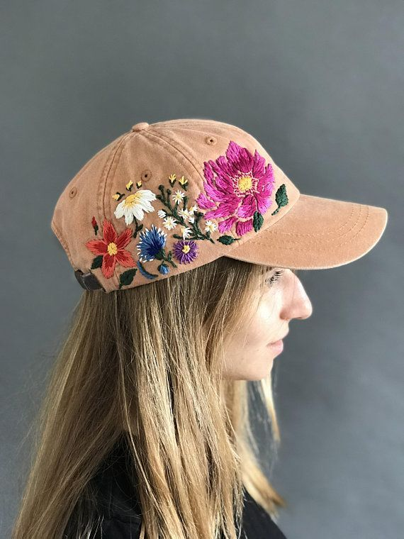 Hand Embroidered Baseball Hat For Women Custom Embroidered Flowers Baseball Cap For Women Birth Custom Embroidered Hats Embroidered Hats Crewel Embroidery Kits