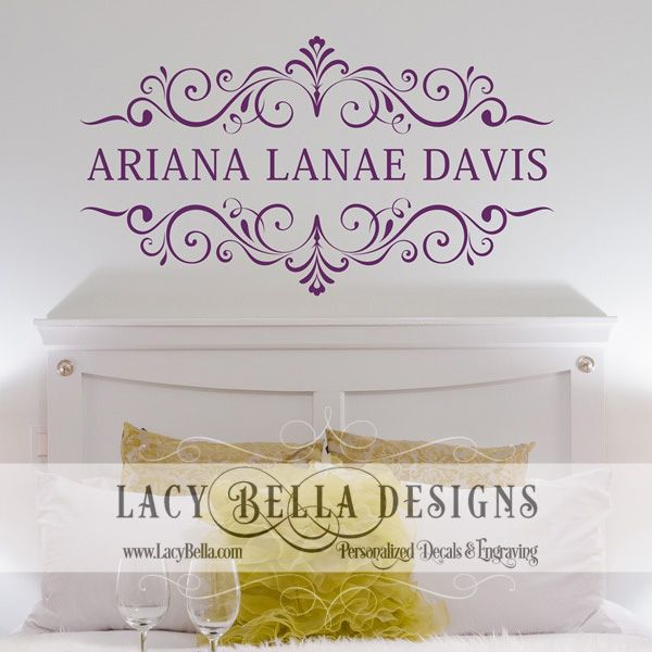introducing this wall decal with a name of your choice this customized wall graphic has handdrawn scrolls to provide a look that is as unique