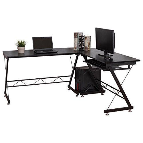 L-Shaped Corner Computer Desk Home Office Laptop Desk Wood Black