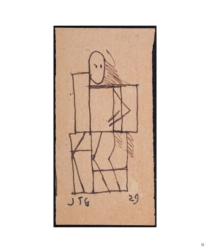 """Figura constructiva"" 1929 Tinta sobre papel 10,5x5,4 cms JOAQUÍN TORRES-GARCÍA"