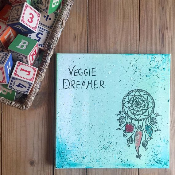 Veggie Dreamer Wall Art, Dream catcher painting, Nursery décor, Unisex baby room, Unique baby gift, Hippie baby room, Hipster baby gift