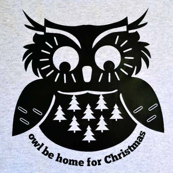 Owl Be Home for Christmas Freebie! Silhouette cut file or JPG image.