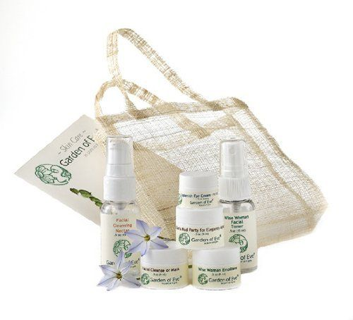 Garden of Eve Face Care Sampler Kit - Wise Woman (Anti-aging /Normal / Combination/ Sensitive)(Certified Organic Ingredients) by Garden of Eve. $32.99. Ingredients are USDA-NOP certified organic; Ecocert approved; and Wild crafted. Safe - EWG Skin Deep database score for this product is 0-1 hazard (low= 0-2: based on a scale of 0 to 10). Includes:Two Cleansers, Facial Toner, Face Cream, Eye Cream. Mud Mask. Great Value, significant quantity of product to sample before purchasing...