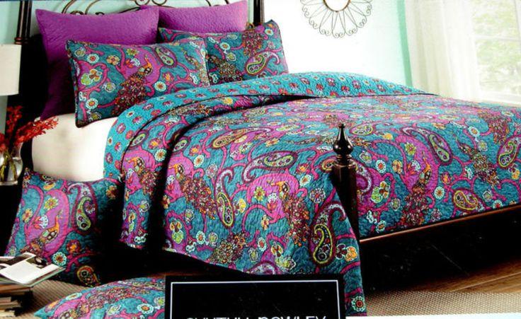 Bedding •~• Cynthia Rowley Peacock ~ Blue, Pink, & Purple