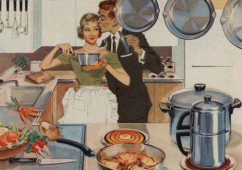 Kitchen Kiss 1950's magazine illustration.                                                    .