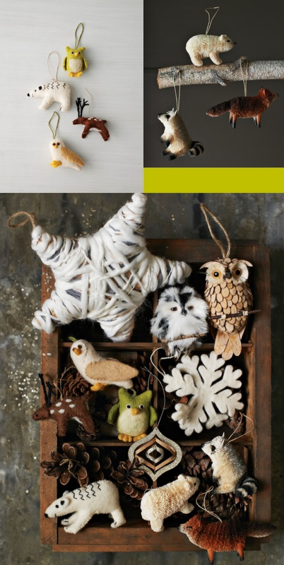 Woodland ornaments from West Elm Holiday 2011