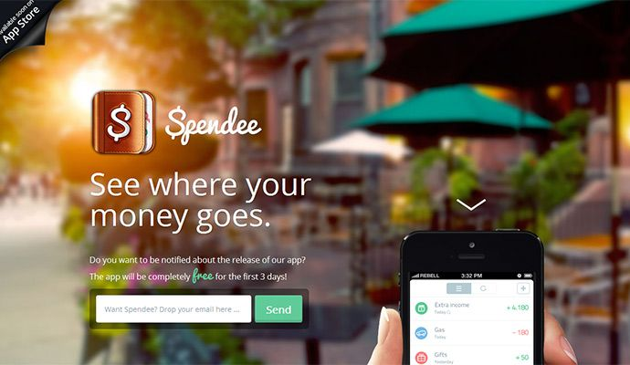 spendeeapp.com: Great website design with light parallax effect and picture blur