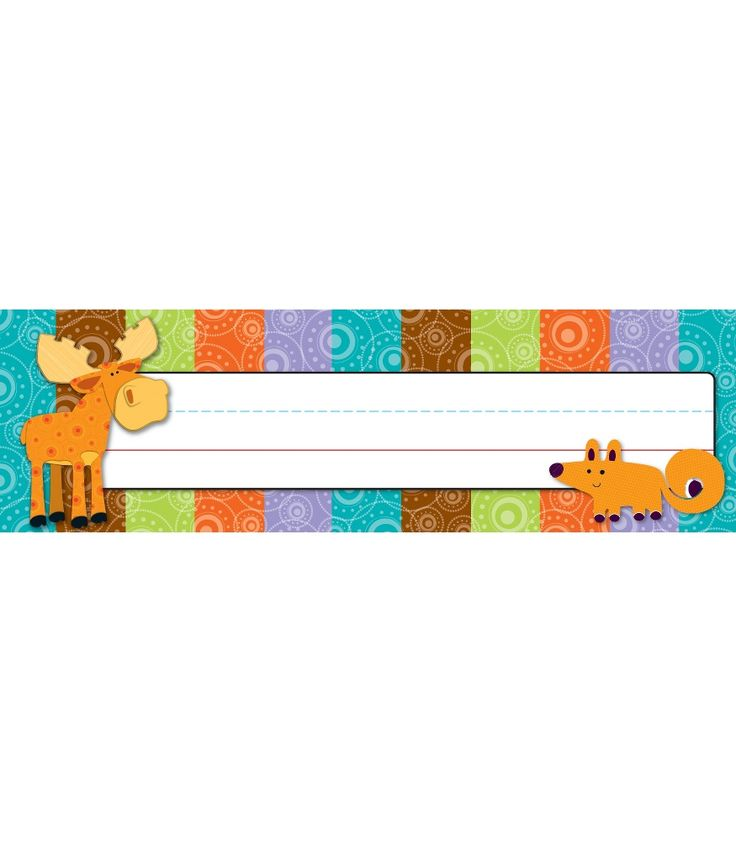 """Make every student feel special with these personalized Moose & Friends nameplates in this charming and delightful design. These convenient nameplates are ideal for desk or cubby assignments or to label and organize your classroom! They can easily be repositioned over and over again!  Look for coordinating products in the Moose and Friends design  to create an inviting and contemporary classroom theme! Each pack includes 30 self-adhesive Quick Stick®  nameplates, measuring 9.5"""" x 2.875""""…"""