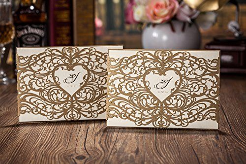Wishmade 100x Gold Laser Cut Wedding Invitations with Heart Hollow Favors Invitation Cardstock for Engagement Bridal Shower Baby Shower Birthday Graduation CW5018 >>> Click image to review more details.