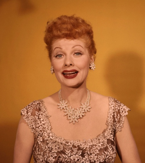 Lucille Ball in a big, chunky statement necklace and matching earrings.
