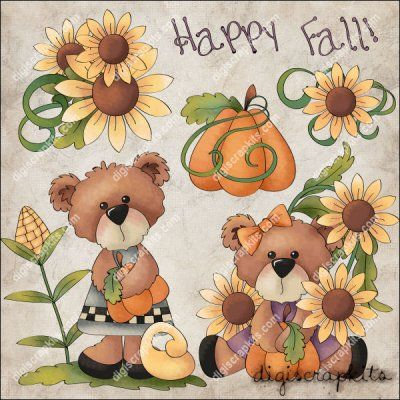Happy Fall Bears 1 Clip Art Single