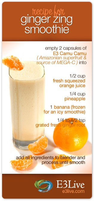 Our E3 Camu Camu is made from the Amazonian superfruit Camu Camu that has 30 to 60 times more naturally occurring Vitamin C than oranges. We believe you'll be so pleased with this superfruit that you'll want to add it to many juice and smoothie recipes for an immune boost, like this delicious Ginger Zing recipe here, enjoy!  www.e3live.com