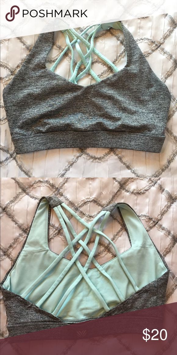 Forever 21 Grey Sports Bra F21 sports bra. Heather grey with mint straps. Used but great condition. Bundle to save. Forever 21 Intimates & Sleepwear Bras