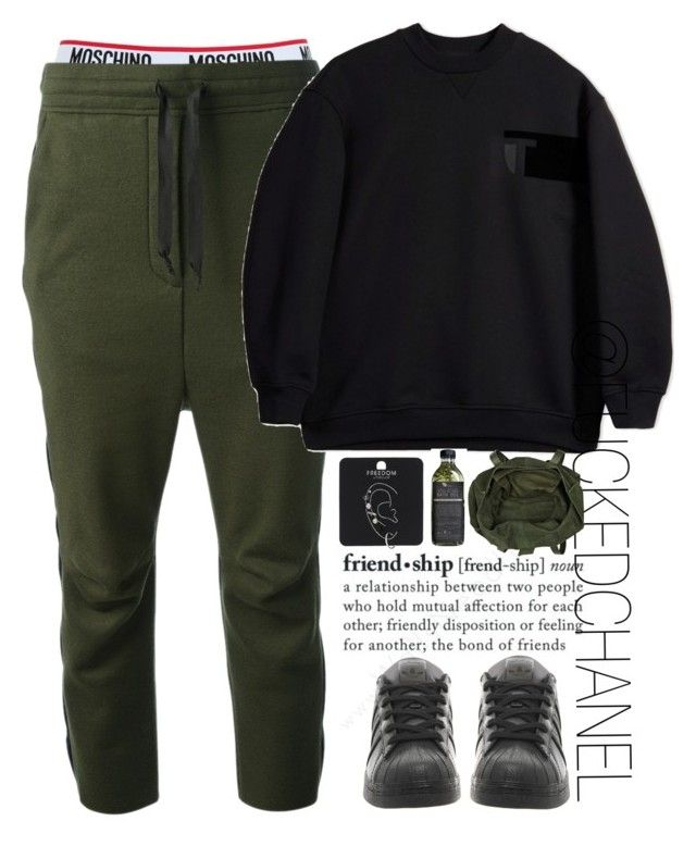 """• Lazy day. •"" by fuckedchanel ❤ liked on Polyvore featuring Moschino, Haider Ackermann, T By Alexander Wang, adidas, Topshop and River Island"