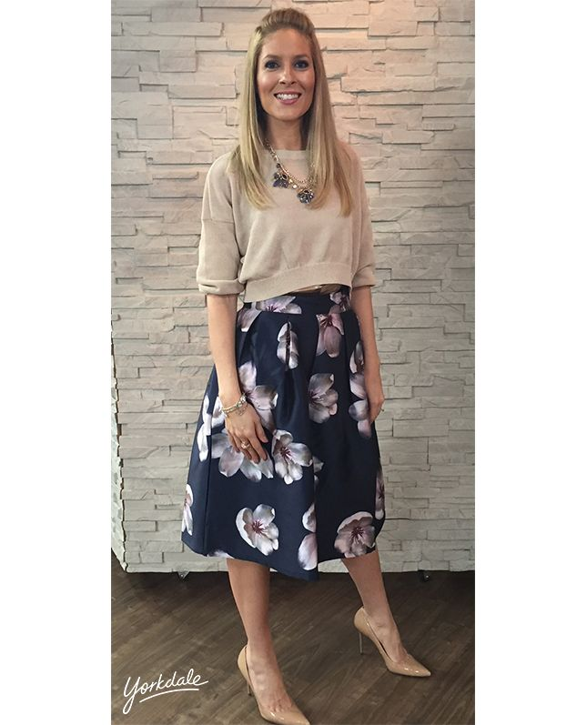 Monday, April 6th | Dina's outfit included: CLUB MONACO Italian Yarn Sweater $249.00 Silk Camisole $149.50 HONEY Floral Full Skirt $135.00 Gemstone Necklace $85.00 WHITE HOUSE | BLACK MARKET Skinny Bracelets $30.00/each Rhinestone Bracelet $40.00 BITTER SWEET Rose Gold Ring $22.00 VINCE CAMUTO Black Triple Strap Heels $190.00