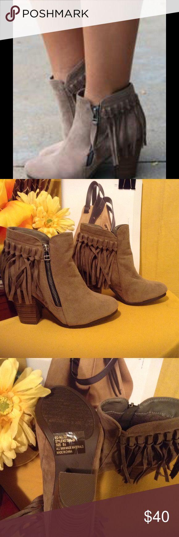 Selling this ⬇️FRINGE ANKLE BOOTIES on Poshmark! My username is: mlis. #shopmycloset #poshmark #fashion #shopping #style #forsale #Shoes