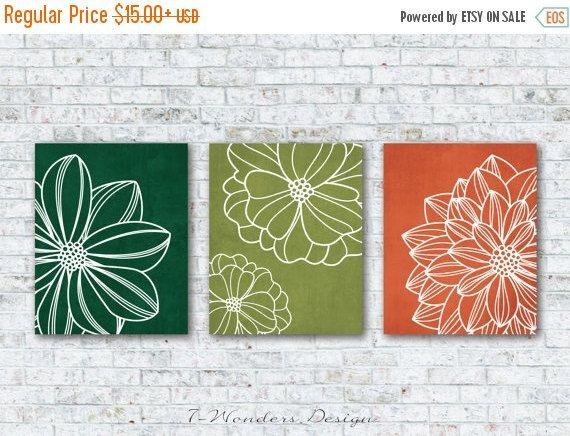 Green Burnt Orange Flower Art Prints, Floral Dahlia Wall Art Set of (3) 5x7…