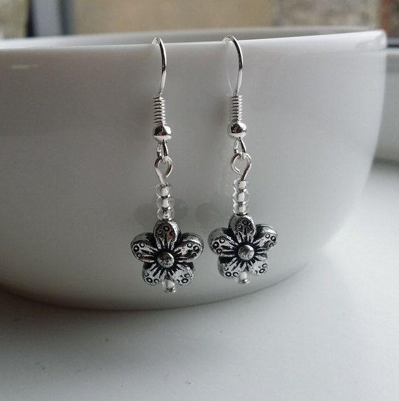 Flower dangle earrings by DorsetCreations on Etsy