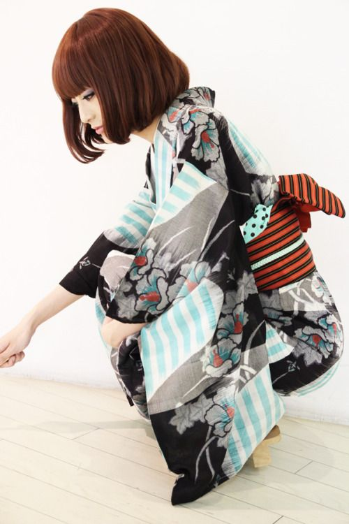 Wearing contemporary yukata. Japan