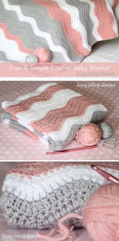 Peppy Pink Baby Blanket Crochet Pattern. Love the colors for a newborn baby girl. Quick and easy to make.                                                                                                                                                                                 More