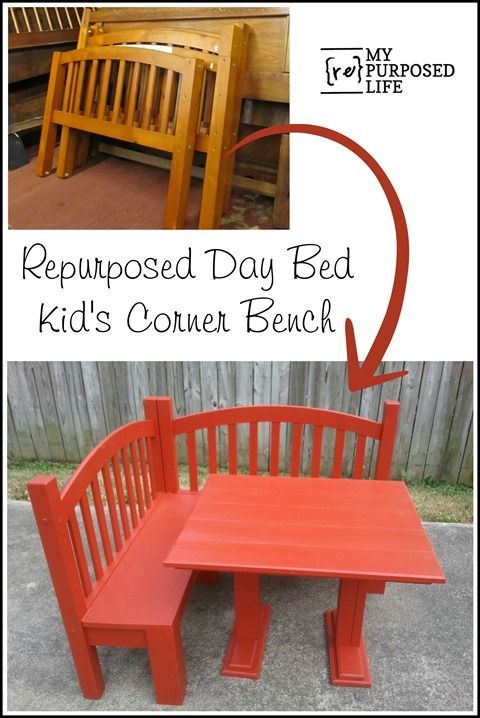 day bed repurposed into a kids corner bench for the kitchen or playroom MyRepurposedLife.com