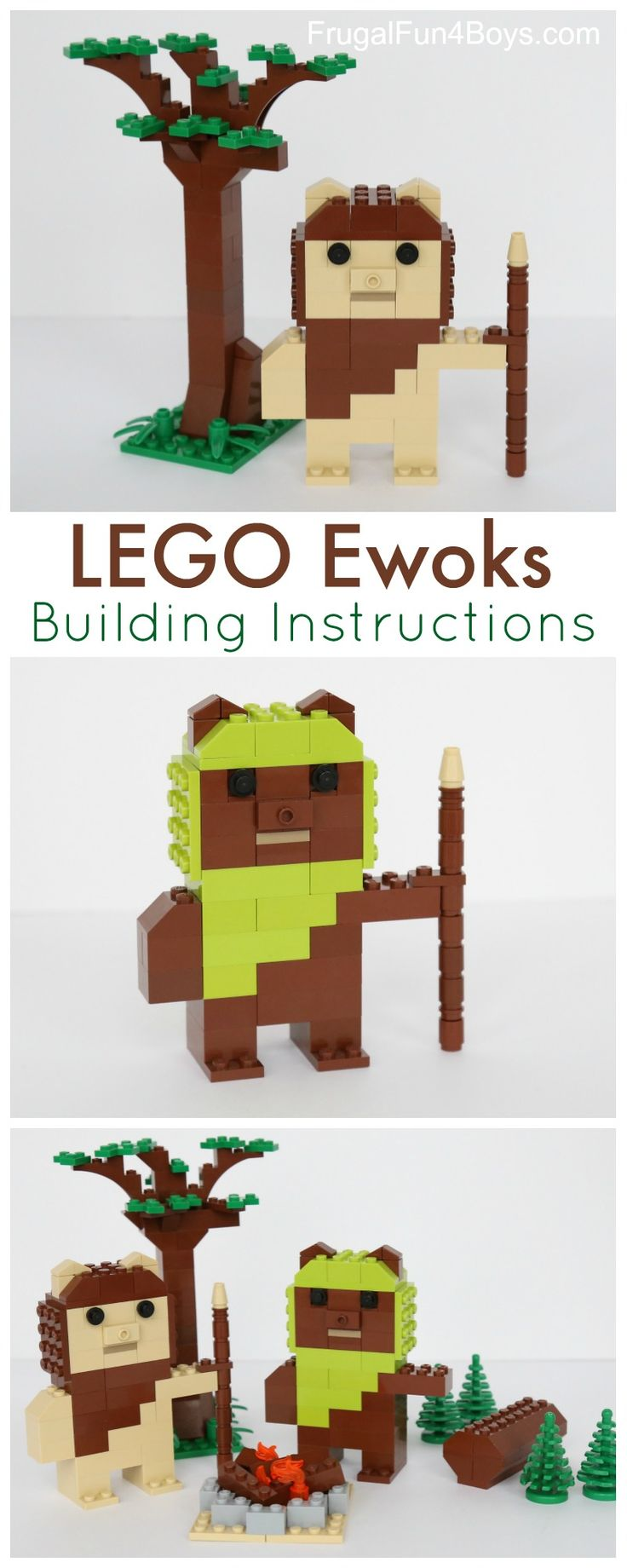 Here's a fun LEGO building project – construct some Ewoks!  You can find step-by-step instructions below. These cute Ewoks fit well with the scale of our other LEGO Star Wars projects – R2-D2, C3P0, and Yoda. We chose to make tan and brown Ewoks, with lime green and brown for the hood colors.  Build them …