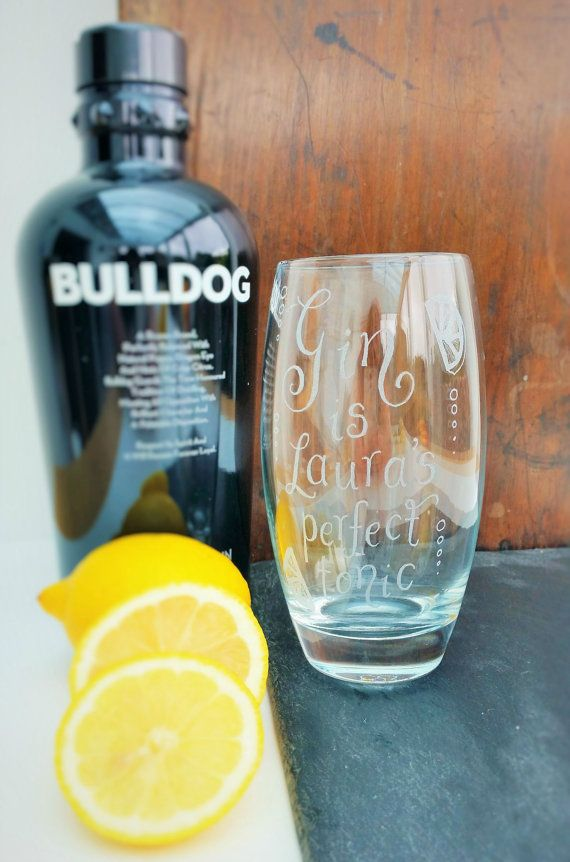 Personalised glass hand engraved Highball Gin by CoveCalligraphy