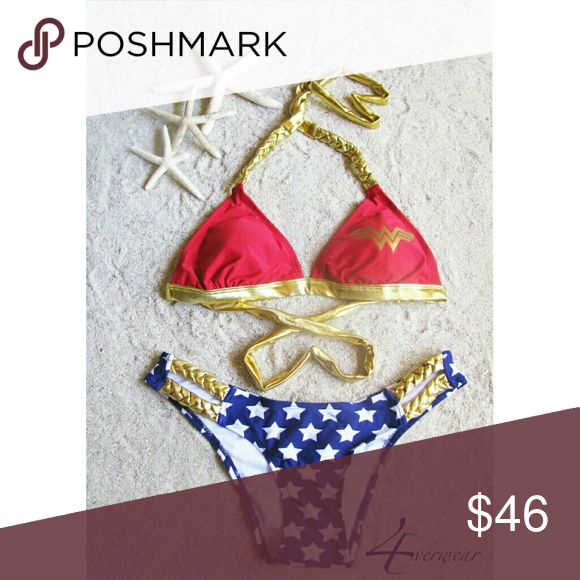 WONDER WOMAN BRAIDED TRIANGLE TOP AND BOTTOM BIKIN Tap  into  your  inner  Superheroine  spirits with  this  knock  out  Wonder  Woman Braided  Triangle Top  and  Bottom  Bikini. The  red  bikini  top  has  the  iconic  gold  Princess  of  the  Amazons  Logo  with  gold  braided  neck  and  back  straps.  The blue  ruched  bottom  has  white  stars  and  gold braided  peek  a  boo  side  cut  outs.  The  beach  needs  Wonder  Woman,  so  get  in  touch  with  your  Warrior  Princess  side …