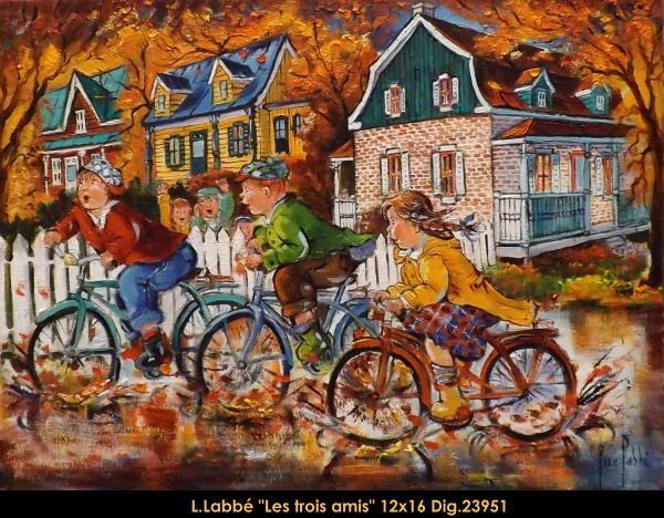 Original oil on canvas painting by Lise Labbé #labbe #artnaif #kidscharacters #fall #bicycles #canadianartist #quebecartist #originalpainting #balcondart #multiartltee