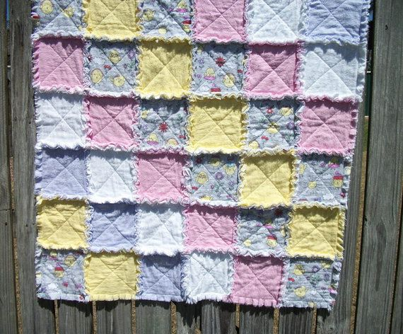 Sweet Chicks Flannel Rag Rug for Baby by sharronmay on Etsy