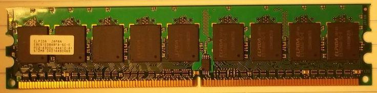 Elpida 512MB PC2-4200 DDR2-533MHz ECC Unbuffered CL4 240-Pin DIMM * EBE51ED8ABFA-5C-E Plactic * -- Used